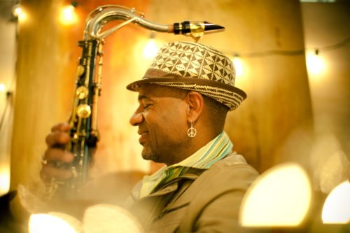 Jazz artist Kirk Whalum is pictured with his saxophone.