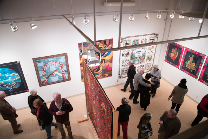 Overhead photo of Barbara McCraw's Life Stories Exhibition at the Patterson-Appleton Arts Center