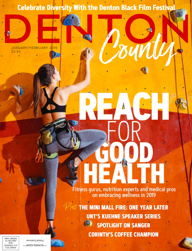 Front cover of Denton County magazine, January 2019.